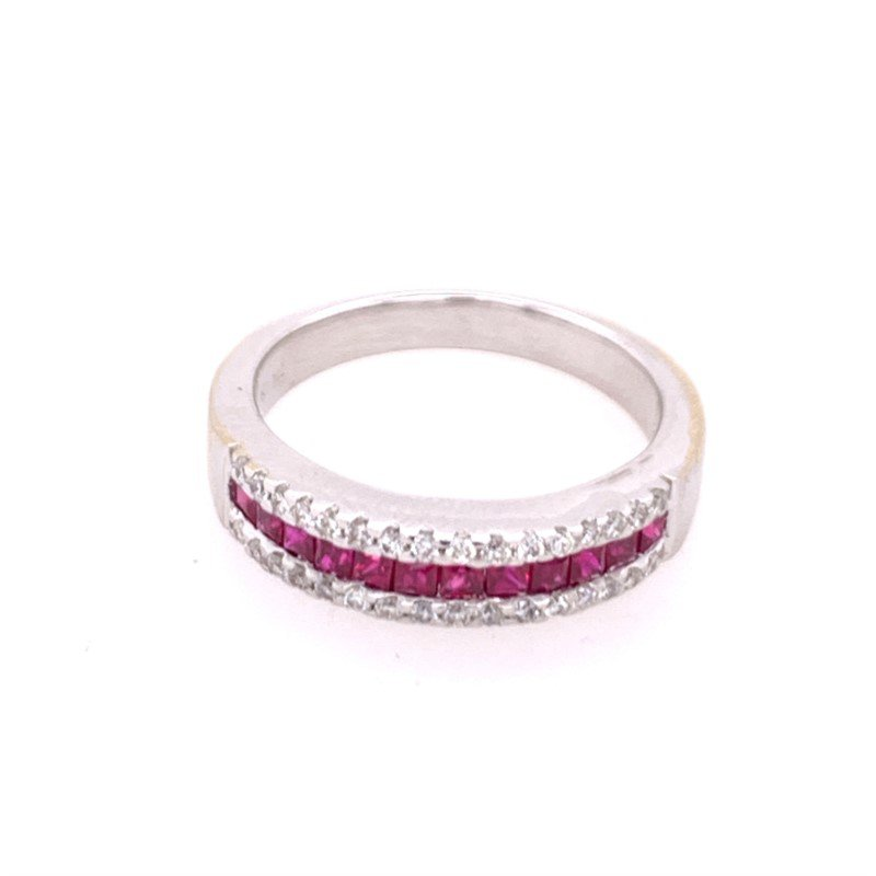 Perry's Estate Collection Ruby and Diamond Band in 18k White Gold