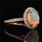Royal Jewelry Opal and Diamond Halo Ring in Rose Gold