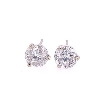 3.08 CTW Diamond Stud Earrings in White Gold