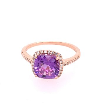 Amethyst and Diamond Ring in Rose Gold