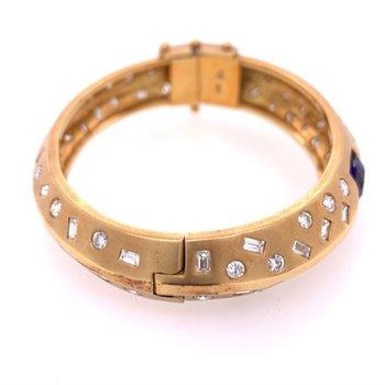 Tanzanite and Diamond Bangle Bracelet in 18k Gold