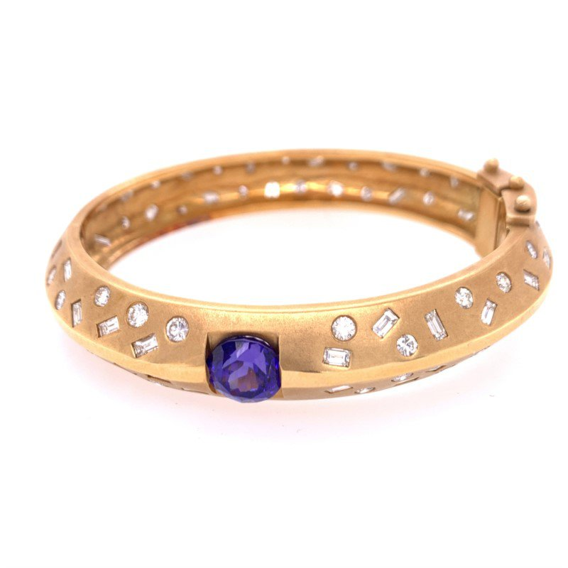 Perry's Estate Collection Tanzanite and Diamond Bangle Bracelet in 18k Gold