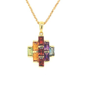 Multi Gemstone Pendant in Yellow Gold