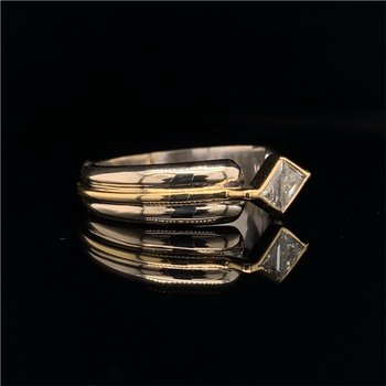 0.40 CaratTrillion Cut Diamond Engagement Ring in Two Tone Gold