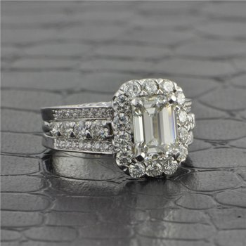 2.05 ct. K-VVS2 Emerald Cut Diamond Engagement Ring in 18k White Gold