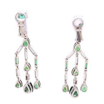 Green Tourmaline and Diamond Chandelier Style Earrings in Platinum