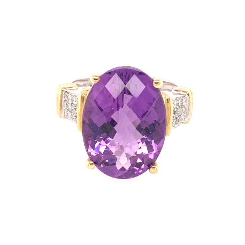 Perry's Estate Collection Amethyst and Diamond Ring in Two Tone Gold