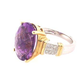 Amethyst and Diamond Ring in Two Tone Gold