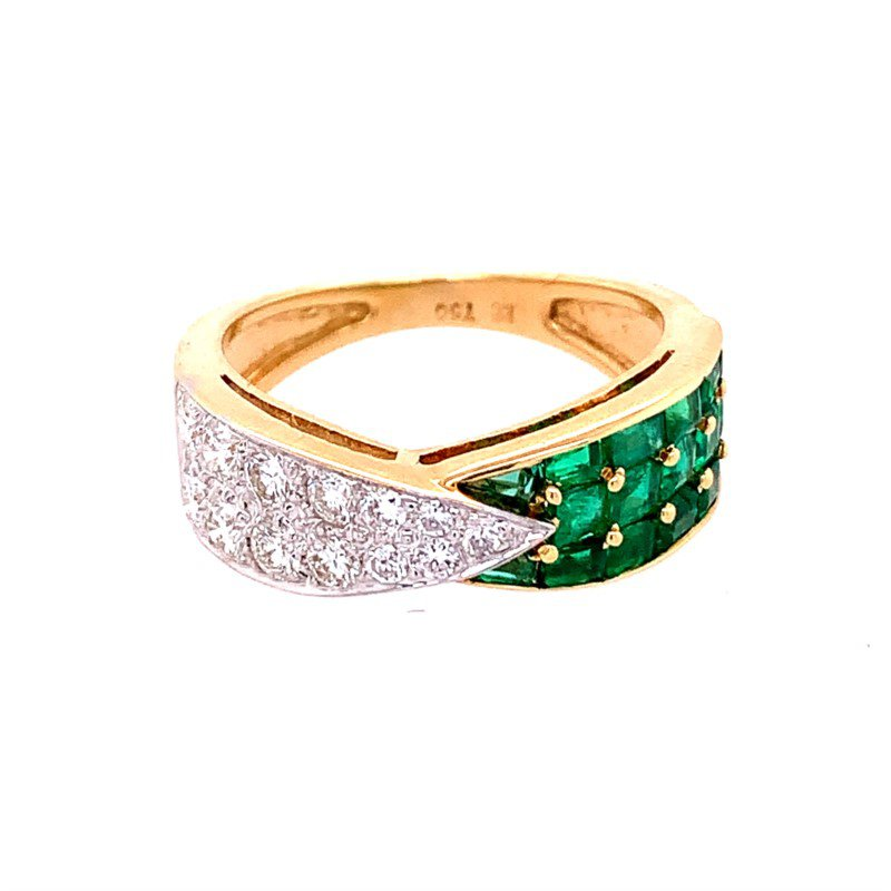 Perry's Estate Collection Designer Emerald and Diamond Band in 18k Gold