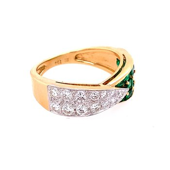 Designer Emerald and Diamond Band in 18k Gold
