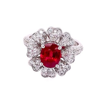 Ruby and Diamond Flower Ring in 18k White Gold