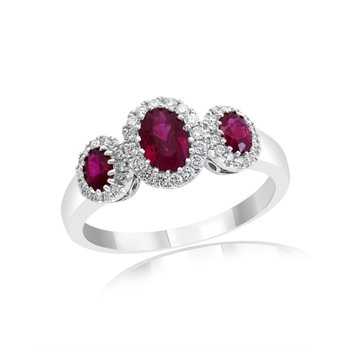 Three Stone Ruby and Diamond Ring in 18k White Gold