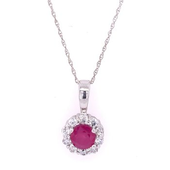 Ruby and Diamond Pendant in White Gold