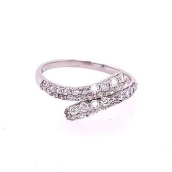 Bypass Style Diamond Band in White Gold