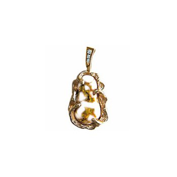 Gold Quartz and Diamond Pendant