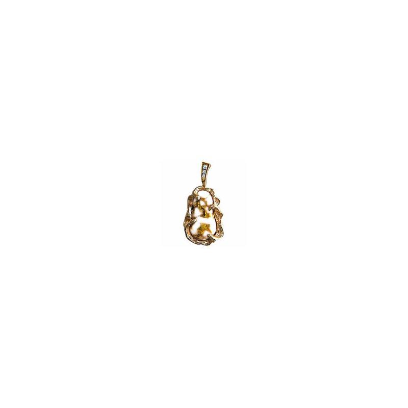 Alaskan Jewelry Gold Quartz and Diamond Pendant
