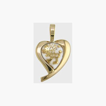 Gold Quartz Heart Pendant