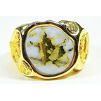 Alaskan Jewelry Gold Quartz and Nugget Ring