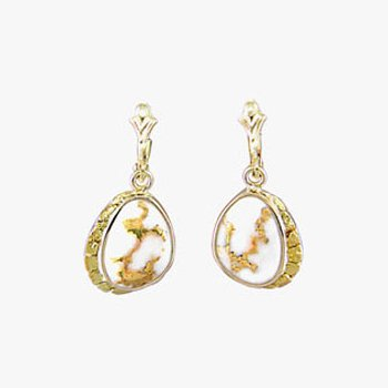 Gold Quartz and Nugget Earrings