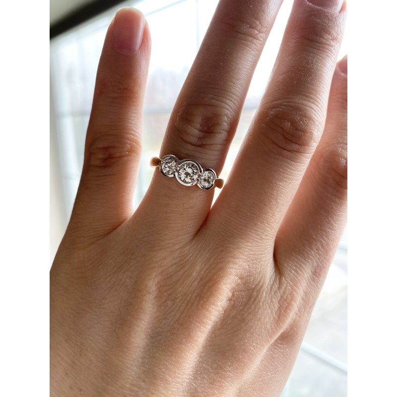 Custom Designs 3-Stone Bezel Set Ring
