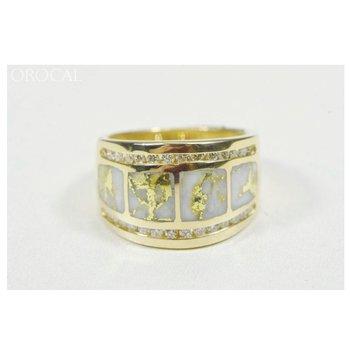 Natural Gold Quartz Ring with Diamonds
