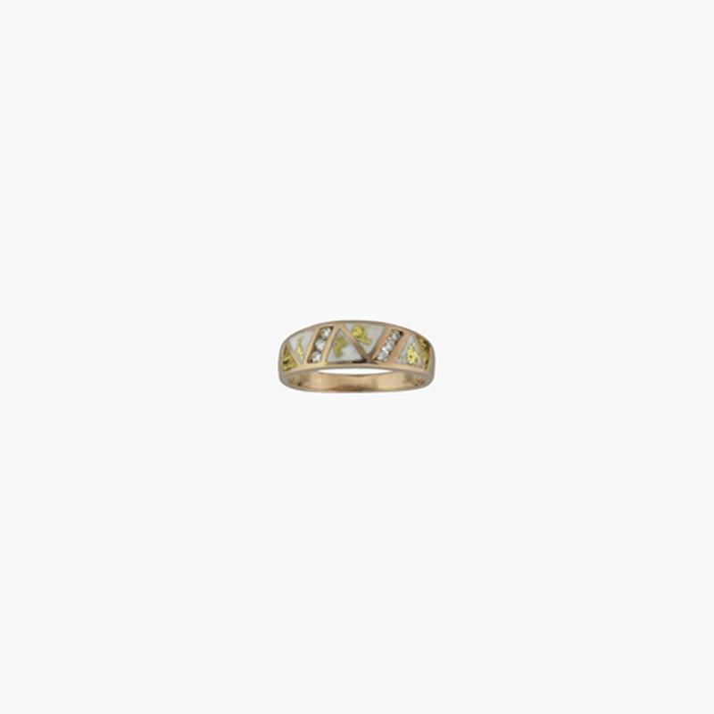 Alaskan Jewelry Man's Gold Quartz and Nugget Ring