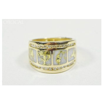 Natural Gold Quartz Ring with Diamonds