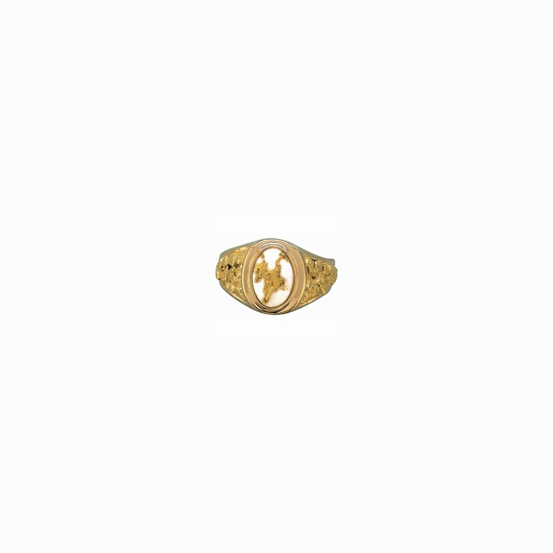 Alaskan Jewelry Man's Gold Quartz Ring