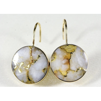 Gold Quartz Leverback Earrings