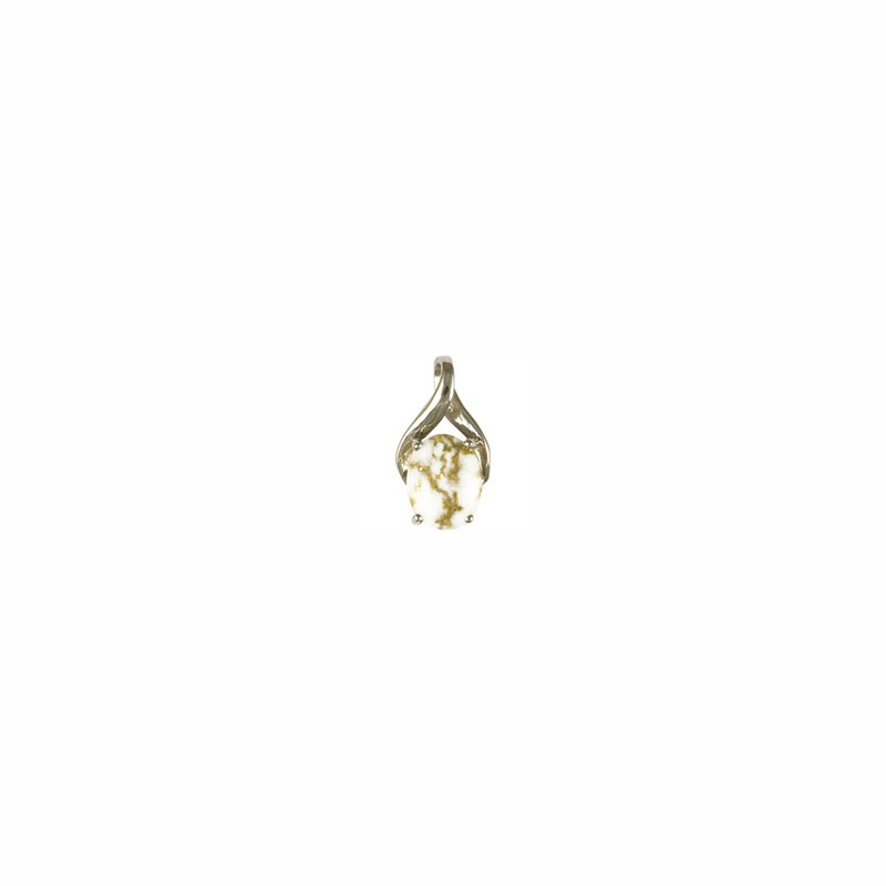 Alaskan Jewelry White Gold- Gold Quartz Pendant