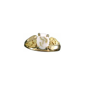 Gold Quartz and Nugget Ring