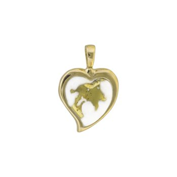 Gold Quartz Heart Pendant