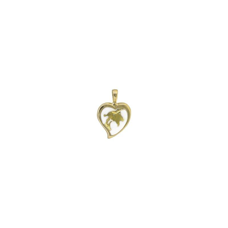 Alaskan Jewelry Gold Quartz Heart Pendant