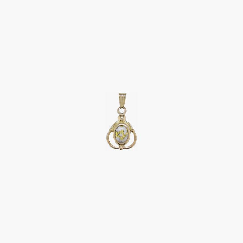 Alaskan Jewelry Small Gold Quartz Pendant