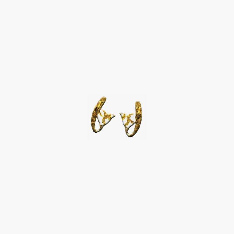 Alaskan Jewelry Gold Quartz and Nugget Earrings