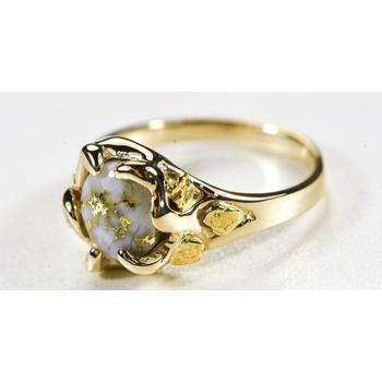 Gold Quartz and Nugget Ring