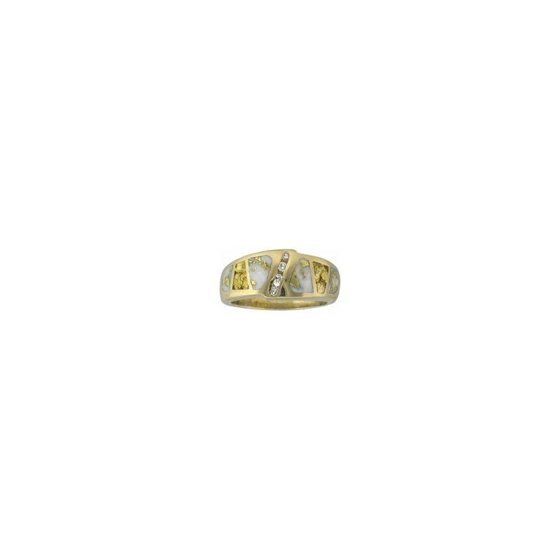 Alaskan Jewelry Gold Quartz and Nugget Band