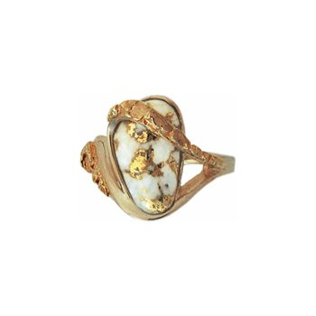 Ladies' Gold Quartz and Nugget Ring