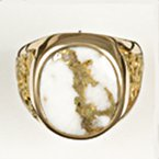 Alaskan Jewelry Gold Quartz and Nugget Ring