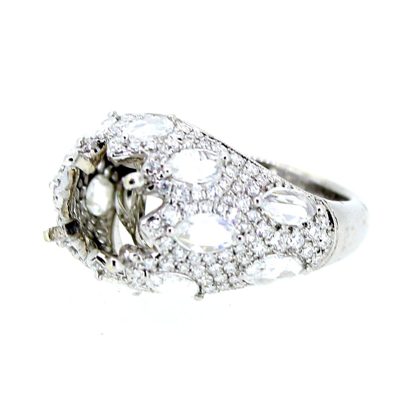 Decor Elegant Domed Ring Mounting w/Rose Cut Marquise Diamonds
