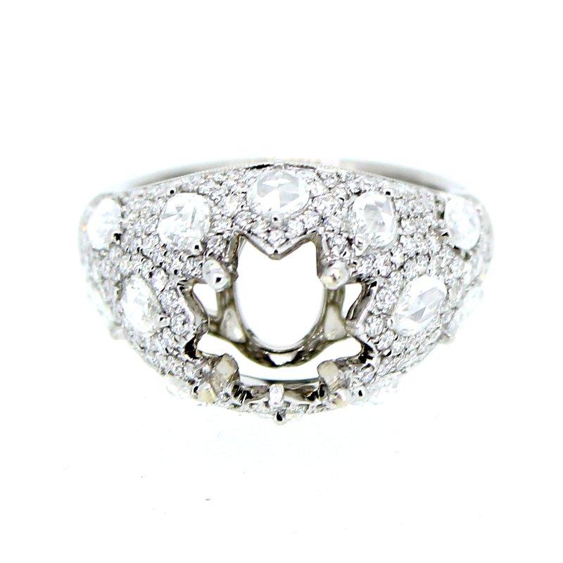 Decor Elegant Domed Ring Mounting w/Rose Cut Marquise Diamonds