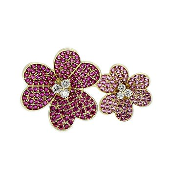 Ruby & Pink Sapphire Floral Ring