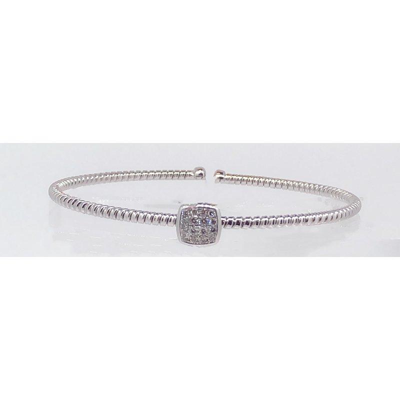 DA Gold Single Cuff Pave Diamond Bracelet