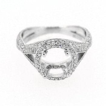 Round Halo Diamond Criss Cross Semi Mount
