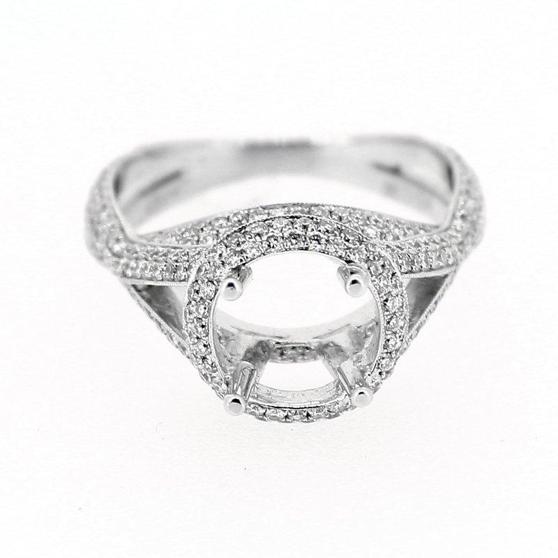 Decor Round Halo Diamond Criss Cross Semi Mount