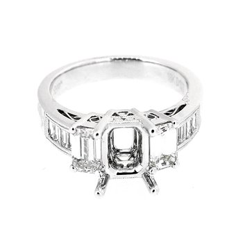 Emerald Cut Diamond Three Stone Style Semi Mount