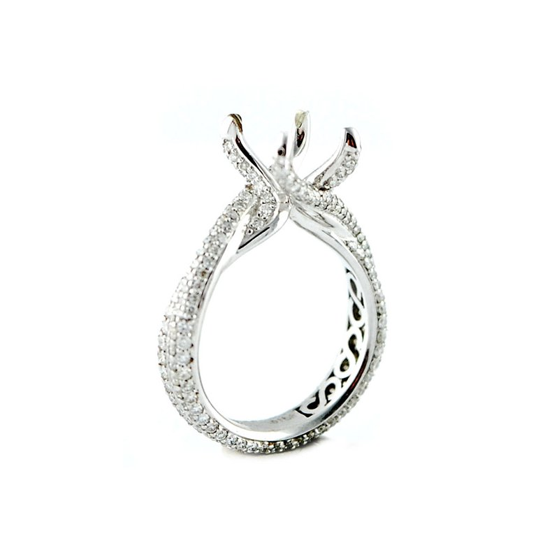 Decor Micro Pave Eternity Bypass Diamond Ring Mounting