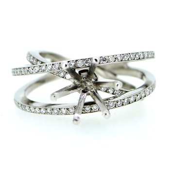 Criss Cross Open Diamond Ring Mounting