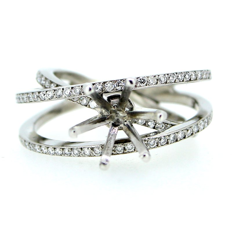 Decor Criss Cross Open Diamond Ring Mounting