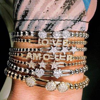 Gold Beaded Diamond Slider Bracelet